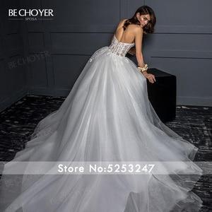 Image 2 - Vestido de Noiva Romantic Appliques Tulle Wedding Dress Sweetheart 2 In 1 Illusion A Line Princess Bride Gown BECHOYER Z124