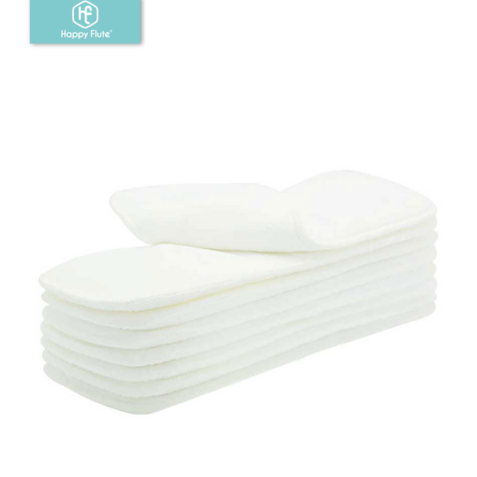 Drop Shipping! Happyflute 10pcs Washable Reuseable Baby Cloth Diapers Nappy Inserts Microfiber 3 Layers