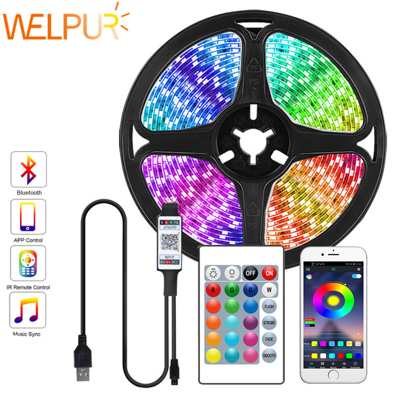 Bluetooth 1 м-5 м USB Светодиодные ленты 2835SMD RGB светодиодный светильник s Лента ТВ светильник 5V полосы светильник белый теплый 24key контроллер