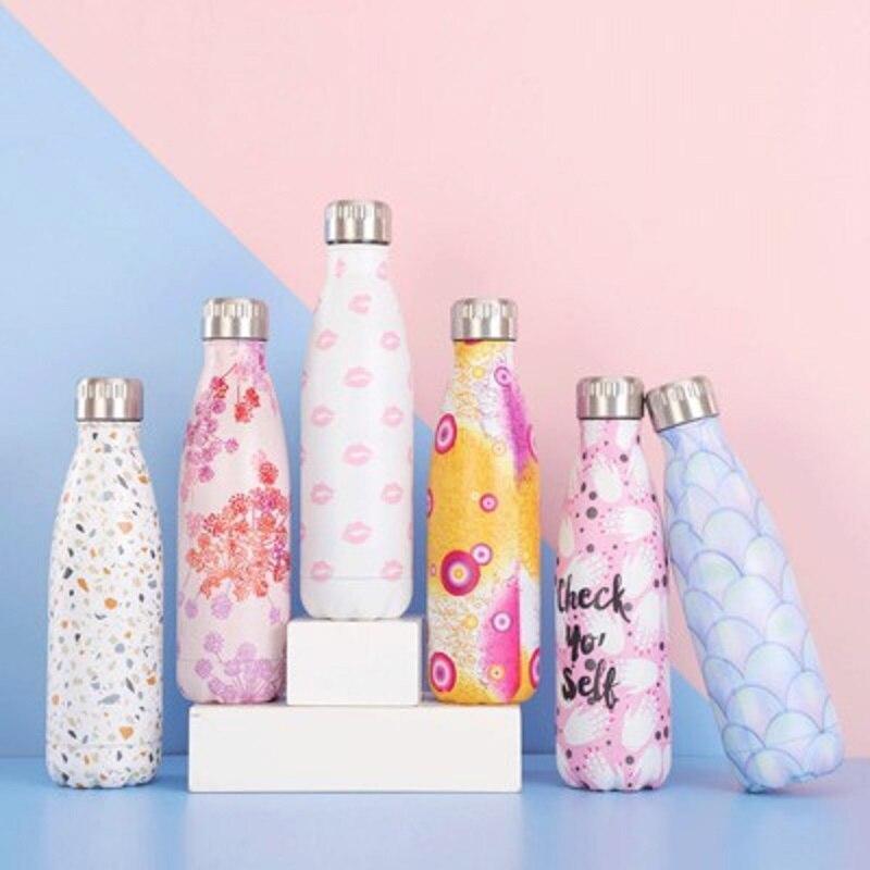 500ml su şişesi paslanmaz çelik termos Shaker spor açık taşınabilir meşrubat şişesi termos için çay yalıtımlı fincan çocuklar