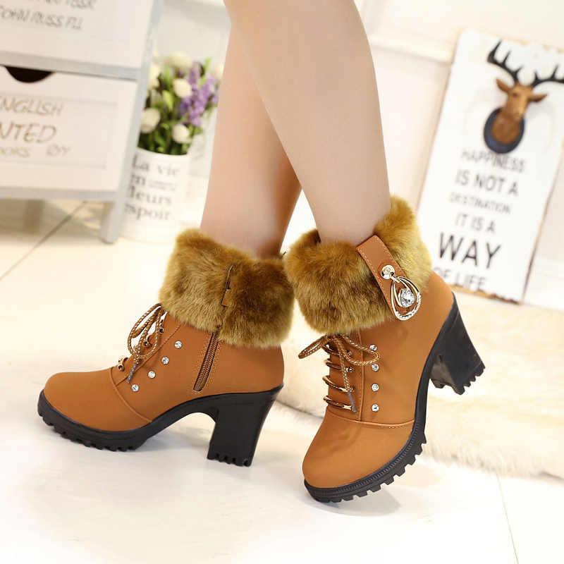 Kadın çizmeler yarım çizmeler kadınlar için yüksek topuk çizmeler kış kadın ayakkabısı toynak topuk sıcak boyutu 35-41Botas Mujer