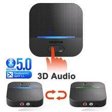 3D & AptX LL Bluetooth 5.0 RCA אודיו מקלט 3.5mm שקע Aux מוסיקה אלחוטי מתאם אוטומטי על עבור רמקול רכב משדר 50M & 20H