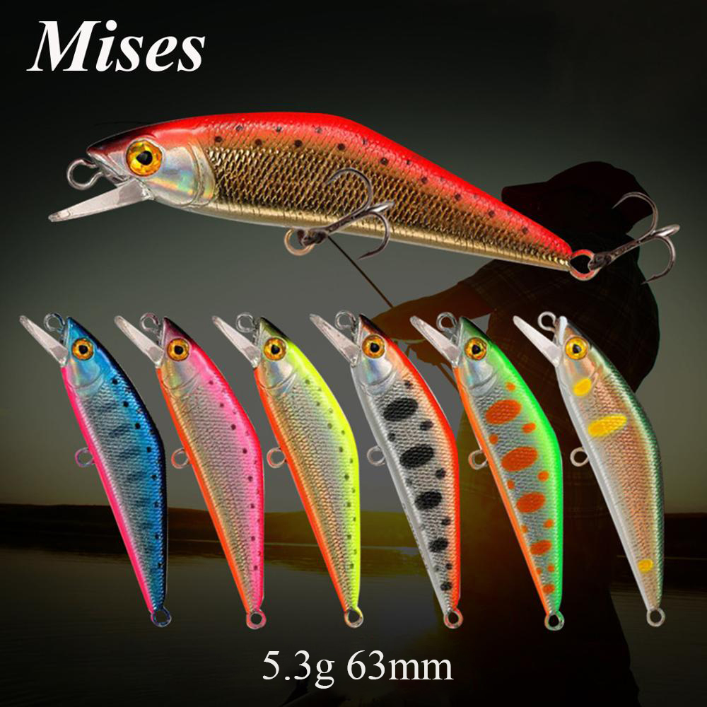 Mises 6.3cm 5.3g Fishing Lure Sinking Wobbler Bionic Bait Minnow Lure 3D Eyes Artificial Bait Plastic Hard Bait Small Realistic