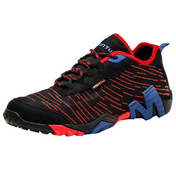 Men's Breathable Mesh Hiking Shoes Lace-up Color Mixing Line Adult Lightweight Casual Running Sneakers Large Size basket homme