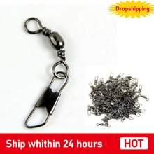 100 pçs fishhooks aço inoxidável giros de pesca interlock rolamento giratória com gancho de peixe snap gancho conector
