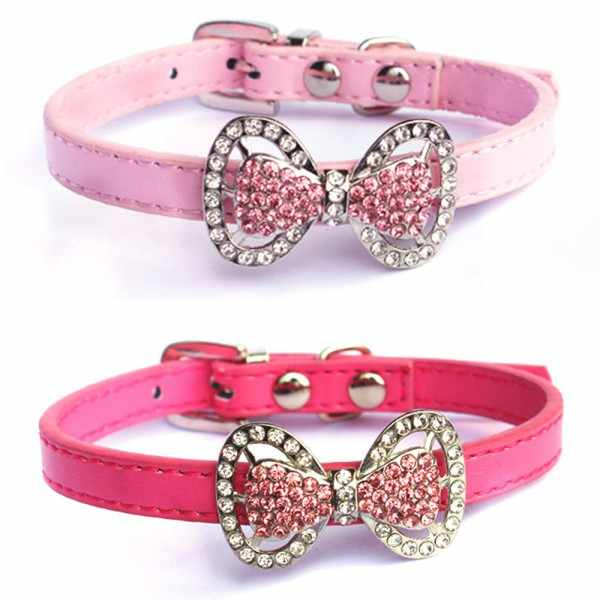 Moda obroża dla psa Bling kryształ Bowknot PU skóra Pup Choker obróżka dla zwierzęcia XS/S Q1