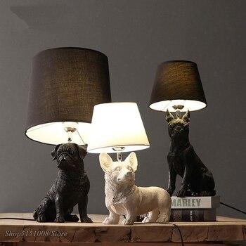 Denmark Puppy Dogs Table Lamps Black/White Animals Desk Lamp Bedroom Bedside Kids Room Living Room Home Decor Lighting Fixtures