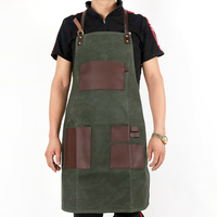 WEEYI Vintage Green Waxed Canvas Grill Aprons For Woman Men Unisex Aprons For Kitchen Cooking Baking BBQ Coffee Shop Work Apron