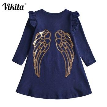 VIKITA çocuklar pamuk elbise kız çocuklar için altın Sequins elbiseler kız parlama kol günlük kıyafetler çocuklar sonbahar moda elbise