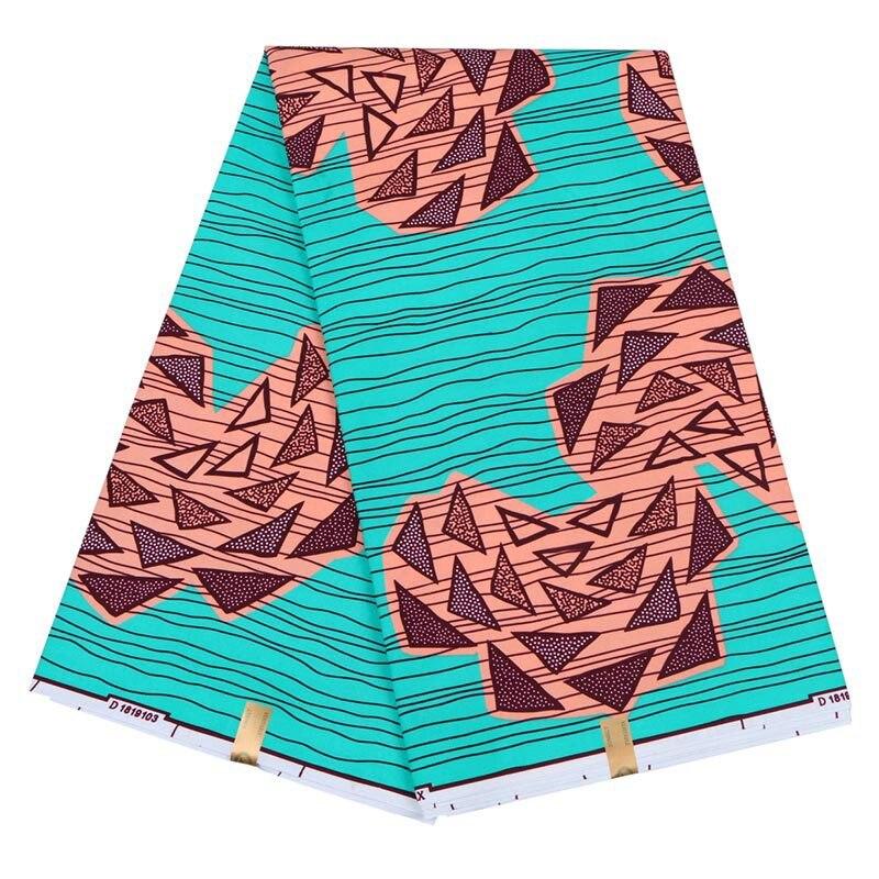 2019 New Veritable Wax Nigeria Ankara Triangle Pattern Print Fabric African Real Dutch Wax Sewing Cloth Material