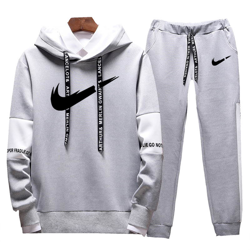 Casual Tracksuit Set Men Fashion 2019 Jogger Autumn Sportswear Suits Spring Autumn Two Pieces Hoodies Pants Set Male Sweat Suit