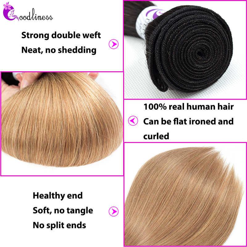 Paquetes de pelo camboyano Ombre con cierre 1B/27 pelo humano lacio Rubio 3 paquetes con cierre Remy Ombre cabello extensiones de