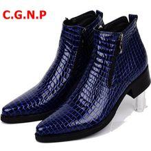 Модная кожаная мужская обувь с высоким верхом cgnp ботинки челси