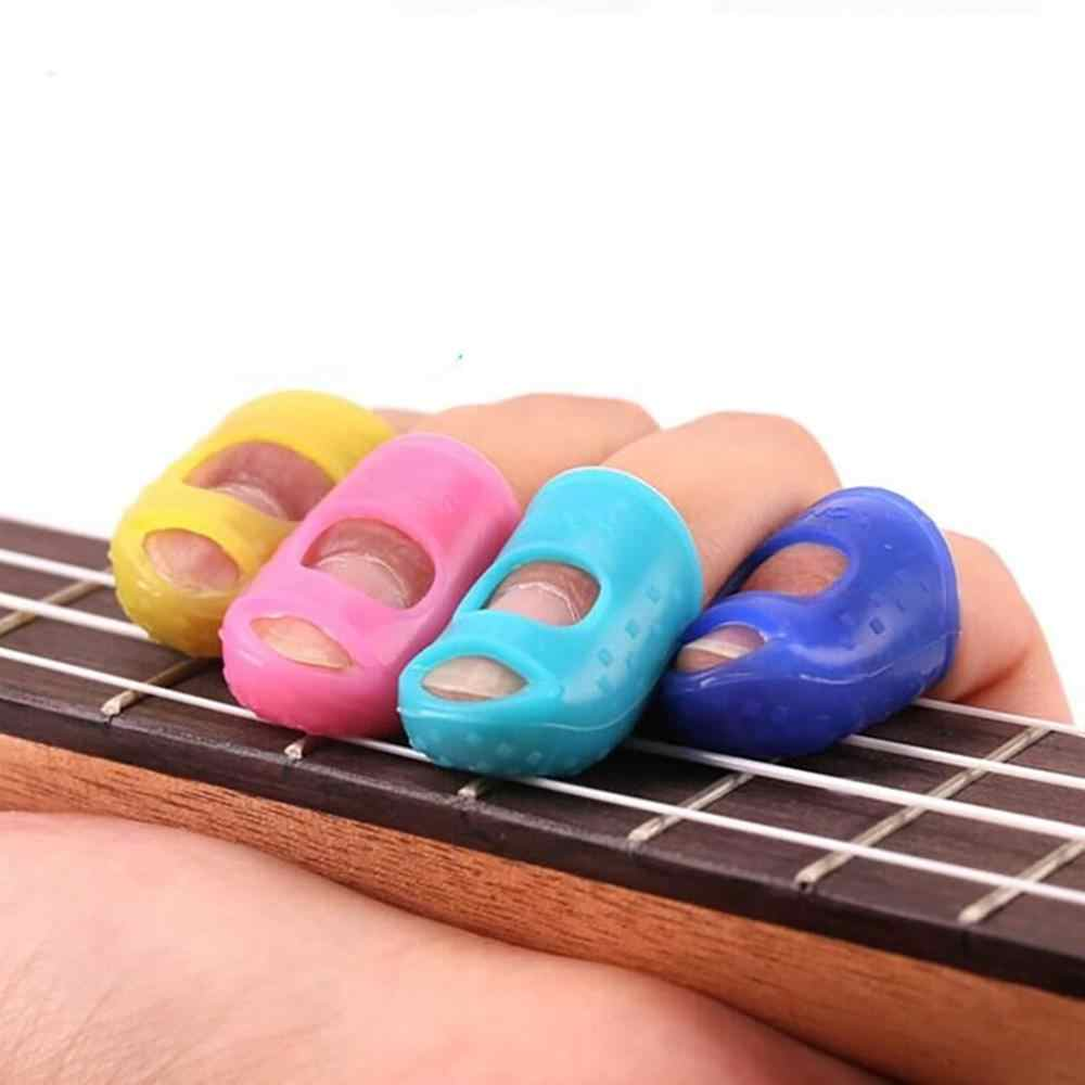 4Pcs Mini Nette Silikon Protetive Finger Schutz Gitarre Fingertip Protektoren Für Ukulele Gitarre S/M/L Blau rosa Gelb Zeigefingerling