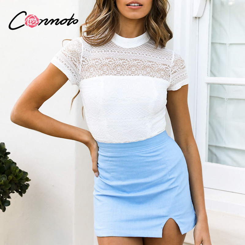 Conmoto Lace Sexy Club  Short Sleeve T Shirt Women Sexy Hollow Out White Shirts Feminino Tops Plus Size Turtle Blusas Mujer
