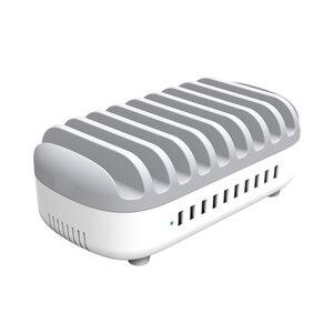Image 2 - Station de recharge USB 5 ports charge rapide avec support chargeur USB 5/10 ports, adapté à toutes les montres intelligentes de bureau de téléphone
