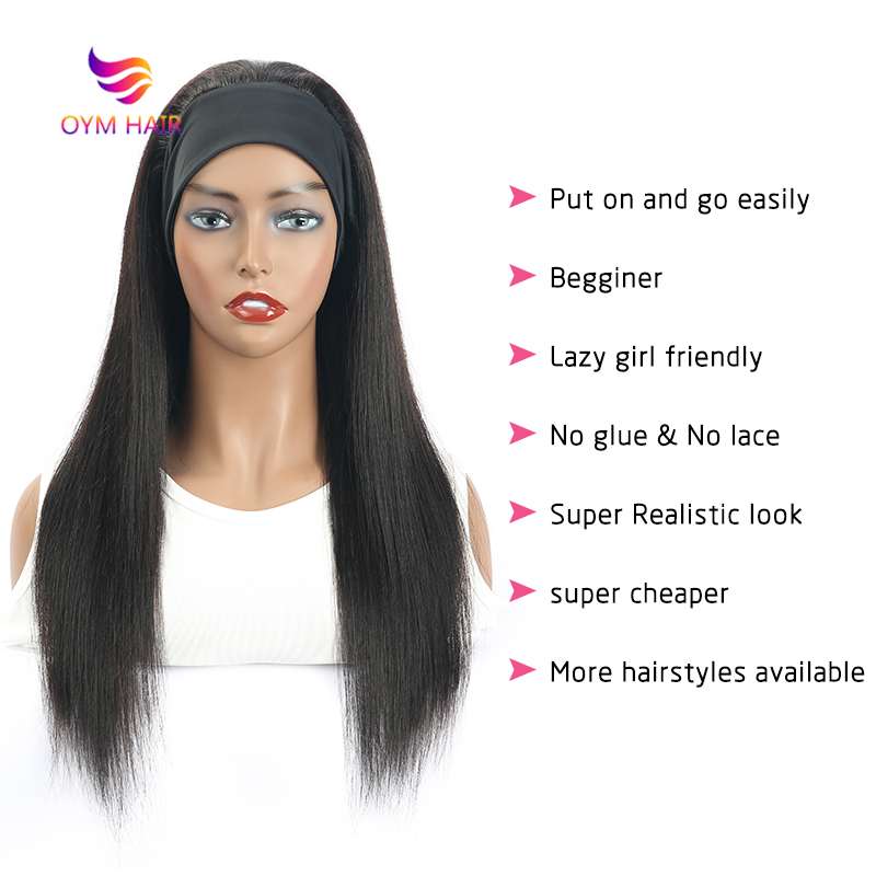 Headband Wig Human Hair Wigs Straight Human Hair Wigs For Black Women Brazilian Hair Wigs Remy Full Machine Made Wig