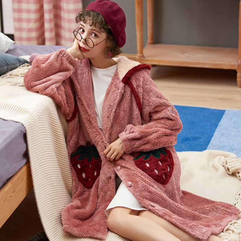 Winter Dress Robe Pajamas Women In Autumn And Winter Thickening Warm Coral Cornel Robes, Long Flannel Robe, Winter Dress