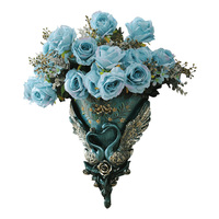 Luxury 3D Wall Hanging Flower Vase with Flowers European Style Wall Vase Wall Decoration Nordic Decoration Home Ceramic Vase