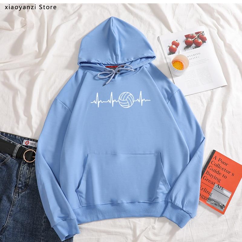 2020 Funny Women Love Volleyballer Sportswear Hoodies O-Neck Cotton Gift Sweatshirts Girls Woman Clothing Pullovers OT-807
