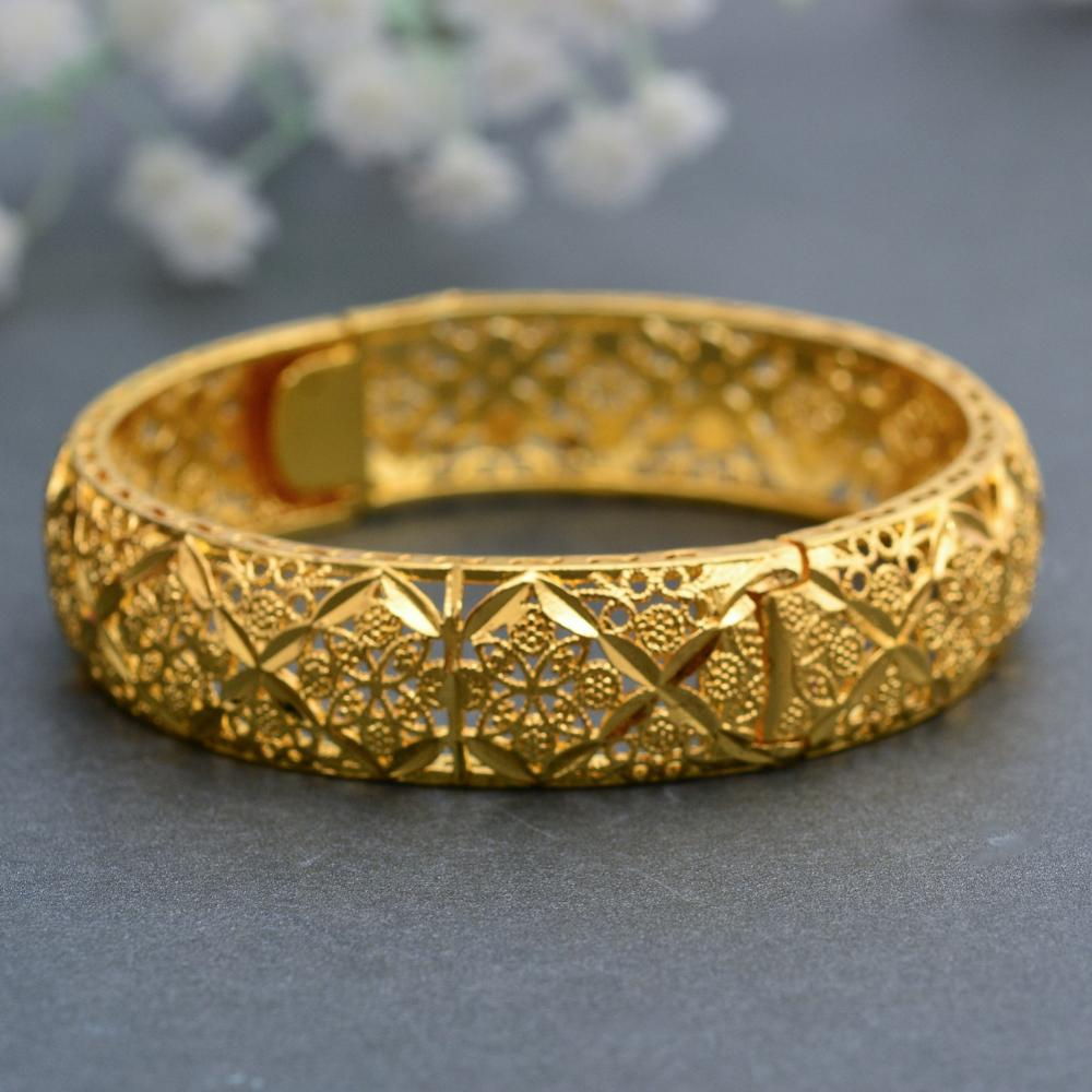 WANDO 1pcs Big Wide Ethiopian Bangle Gold Color BanglesBracelets Dubai African Men Women Jewelry Gift
