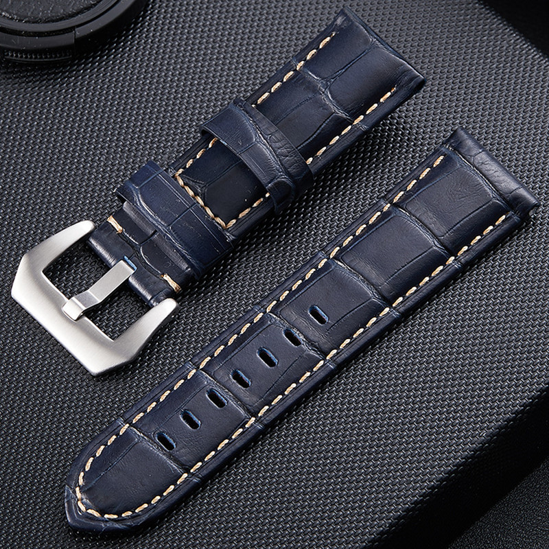 high quality genuine leather <font><b>straps</b></font> for PAM <font><b>watch</b></font> bands <font><b>PVD</b></font> Solid Stainless Steel Mad horse and cowhide leather band 22 24 26mm image