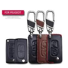 Funda de cuero para llave de coche, carcasa para llave de protección para Peugeot RCZ 107, 206, 207, 208, 306, 307, 308, 407, 408
