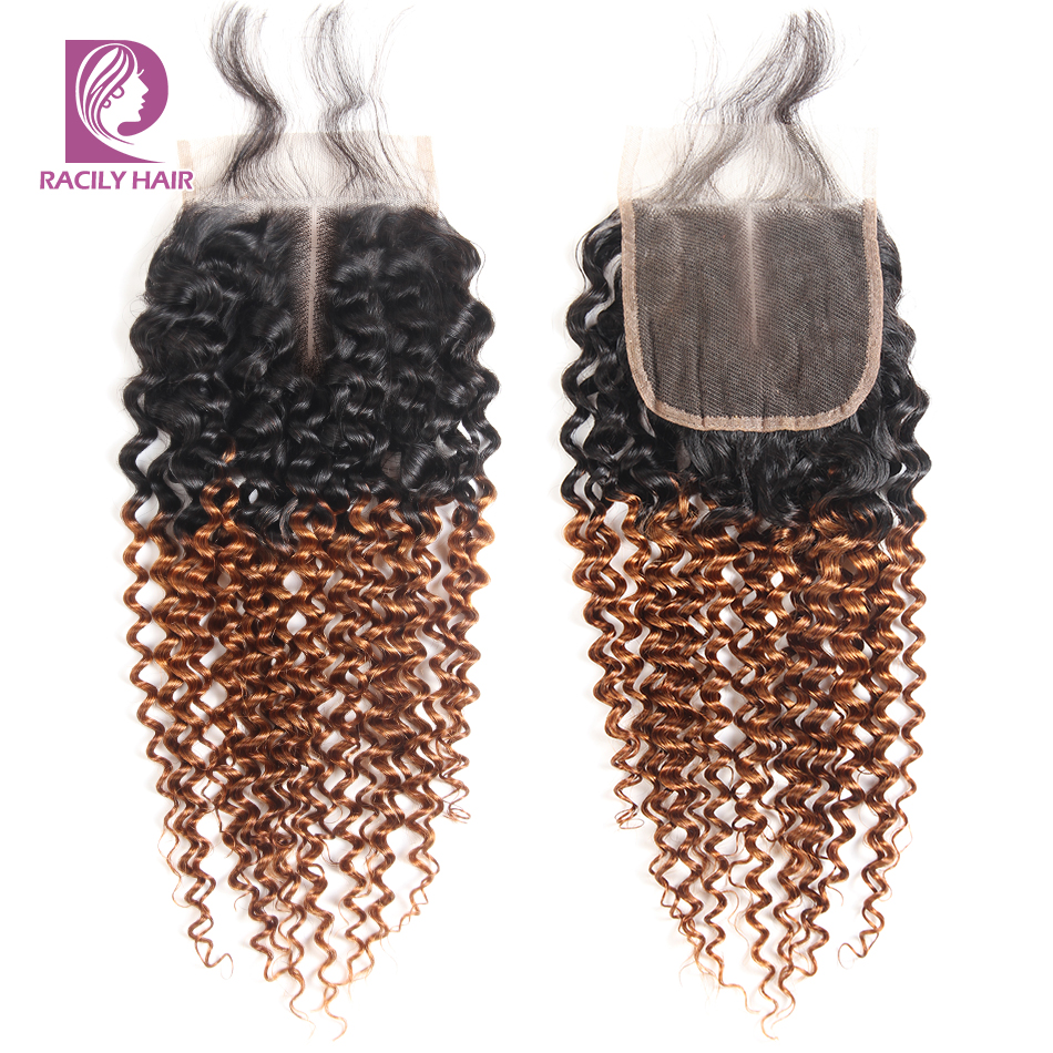 Racily Hair Brown Ombre Brazilian Kinky Curly Lace Closure T1B/30 4x4 Lace Closure Remy Human Hair Lace Closure With Baby Hair