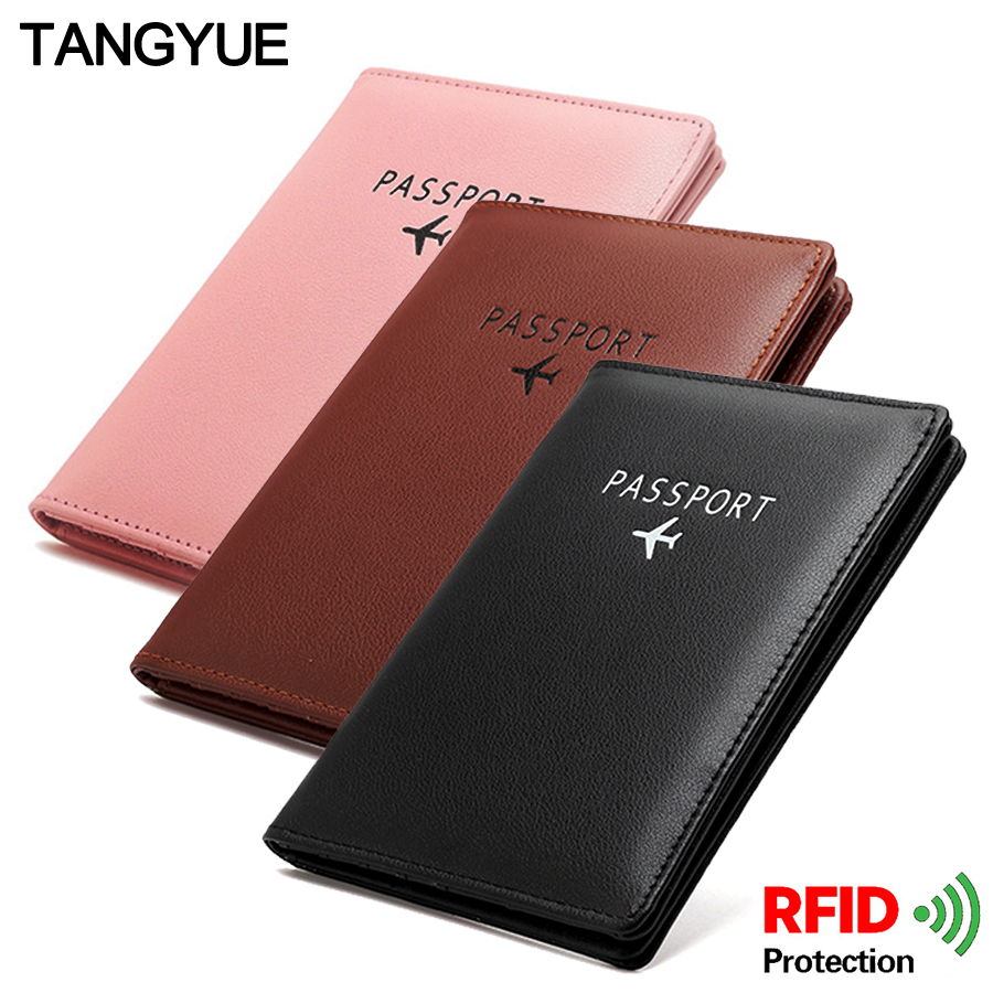 Travel Leather Men Women's Passport Cover On The Passport Holder ID Credit Card Rfid Protection Case For Passport Wallet Pasport