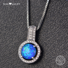 Shipei Silver 925 Opal Necklace for Women Fine Jewelry 100% Sterling Silver Opal Necklace Wedding Engagement Anniversary Gift vintage faux opal floral necklace jewelry for women