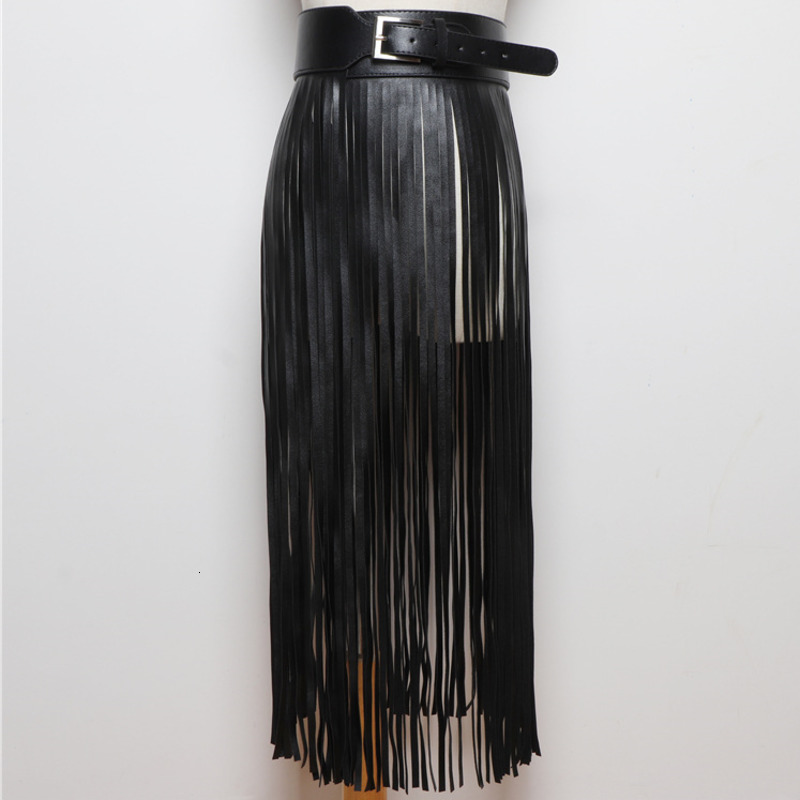 LANMREM 2020 Personality Long Fringed Skirt Ladies Girdle Fashion Wild Wide Belt Black Belt Decorative Dress PC198