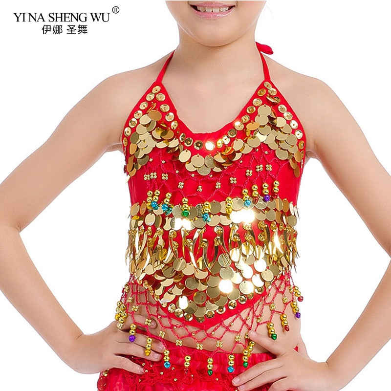 Girls Bellydance Oriental Costumes Children Belly Dance Costume Top 2 Style Grils <font><b>Indian</b></font> <font><b>Sari</b></font> Clothing Bollywood for <font><b>Kids</b></font> Tops image