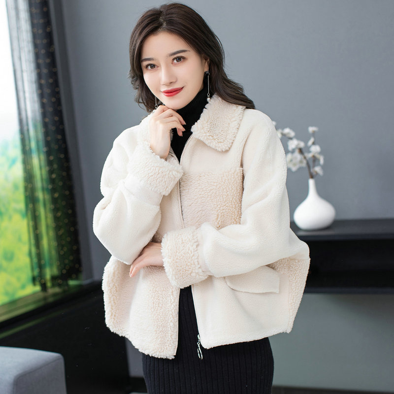 Winter Woman Warm Teddy Coat Lmitation Lambs Wool Fabric Outerwear Women Faux Berber Fleece Plush Jackets Pink Blue Red Beige