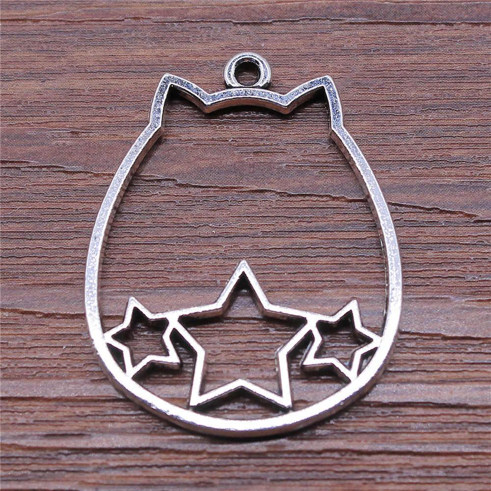 WYSIWYG 3 sztuk/partia 27x34mm Hollow Pentagram kot głowy Charms wisiorek do tworzenia biżuterii Antique kolor srebrny biżuteria akcesoria