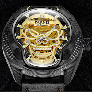 Image 5 - Marca de luxo parnis commander série luminosa caixa de aço masculino pulseira de couro automático auto vento relógio de pulso mecânico