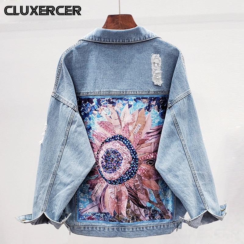 Streetwear Style Print Women's Denim Jacket Coat Diamonds Hole BF Jeans Outwear Female Spring Autumn Casual Loose Cowboy Outwear