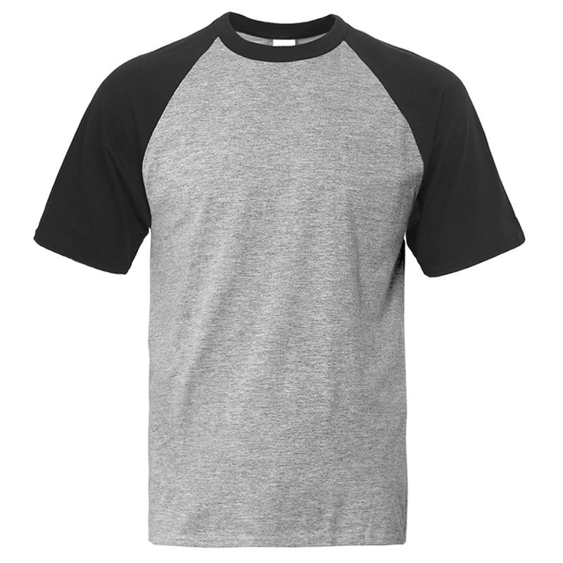 T Shirt Men Solid Color Tshirt Mens Black Gray White Blue Red Green Summer Tops Tees Cotton Camiseta Basis Raglan Brand T-Shirt