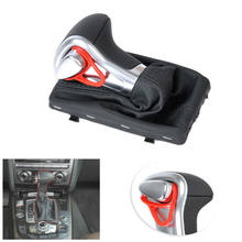Superb Leather Chrome Gear Shift Knob + Gaiter Boot Cover For A4 A6 Q7 Q5 Stable Characteristics High Reliability(China)