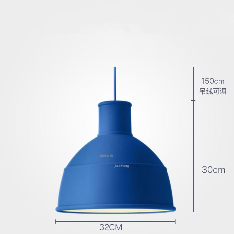 Новинка, подвесной светильник в скандинавском стиле, для столовой, макарон, s, смоляный светильник, светильники, кухонные подвесные лампы, подвесной светильник для гостиной, светодиодный, внутреннее освещение - Цвет корпуса: Blue 32CM