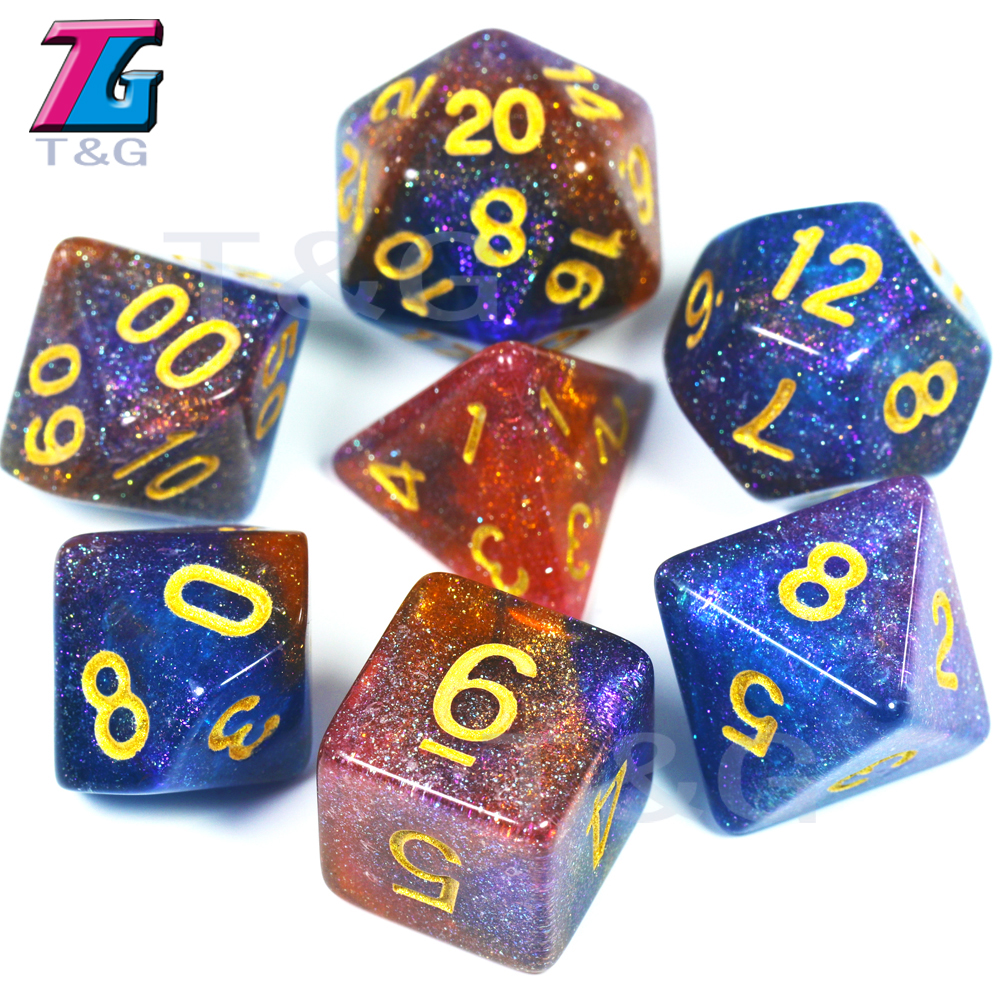 T&G 2019 New Colorful Universe Galaxy Dice 7pcs/set D4-D20 With DND RPG Gift Toys Board Games Dice