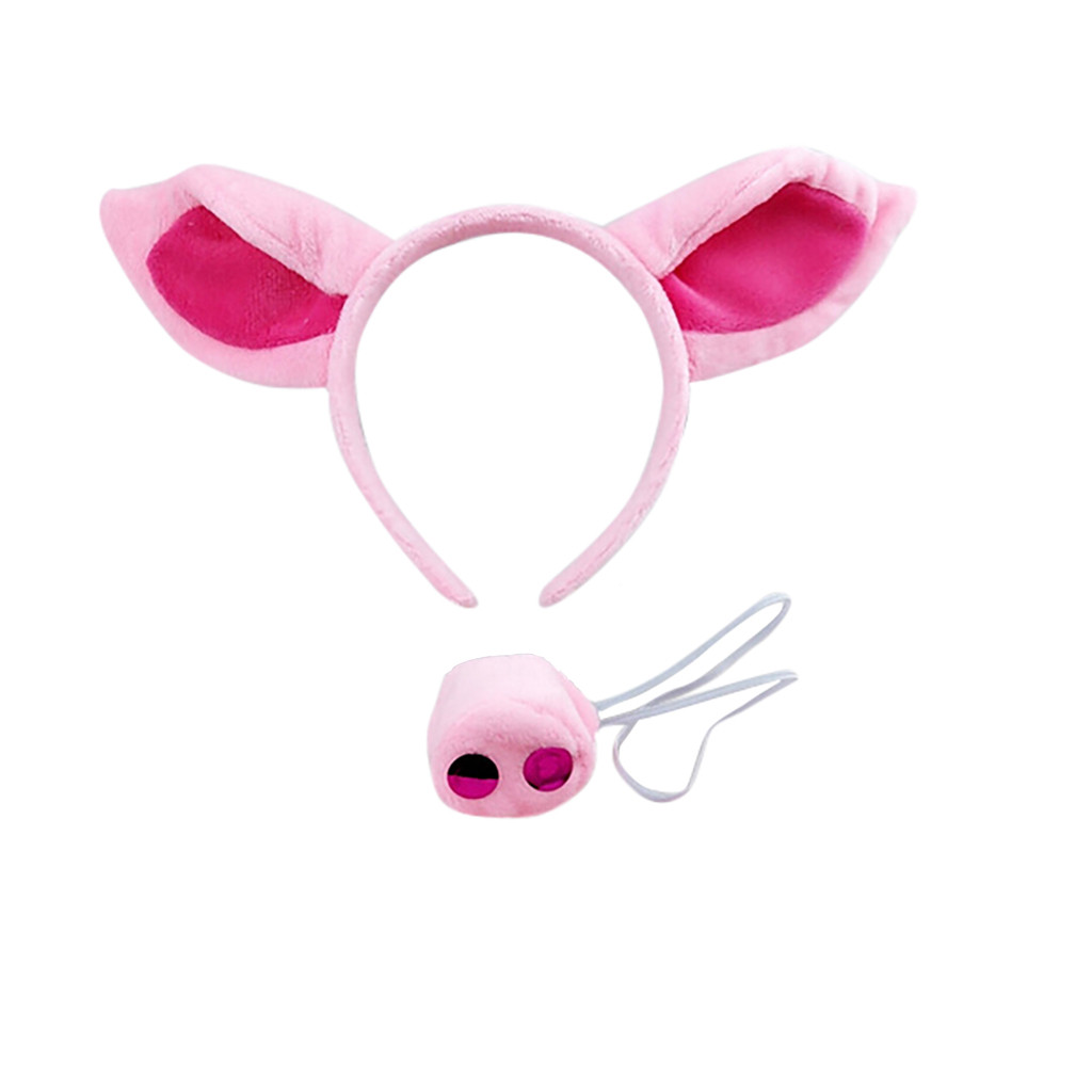 Pink Pig Headband Ears And Tail Set Costume Accessory Pink Kids Toys Party Decoration Funny Toy Cumpleaños Infantil 2020 New