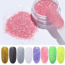 1 g/kutu Holo parlak tırnak tozu degrade UV jel lehçe için çivi süslemeleri şeker Glitter daldırma tırnak sanat
