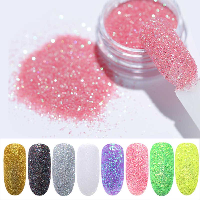 1 g/kutu Holo parlak tırnak tozu degrade UV jel lehçe için çivi süslemeleri şeker Glitter daldırma manikür tırnak sanat