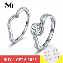 SG 2019 NEW arrival 925 Sterling Silver big Cubic zirconia Wish Finger Rings For Women Fashion Lucky Jewelry Birthday Gift(China)