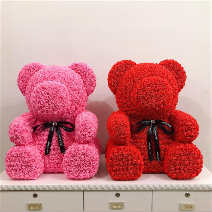 Livraison directe grand 70cm PE Rose ours fleur artificielle mariage anniversaire décoration saint valentin romantique cadeau fleur ours