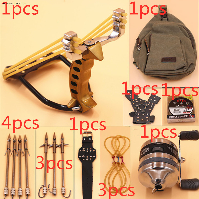 Powerful Multi-function Archery Bow Fishing Shooting Fish Catapult Hunting Bow Fishing Sling Shot Arrow Kit Adult Slingshot