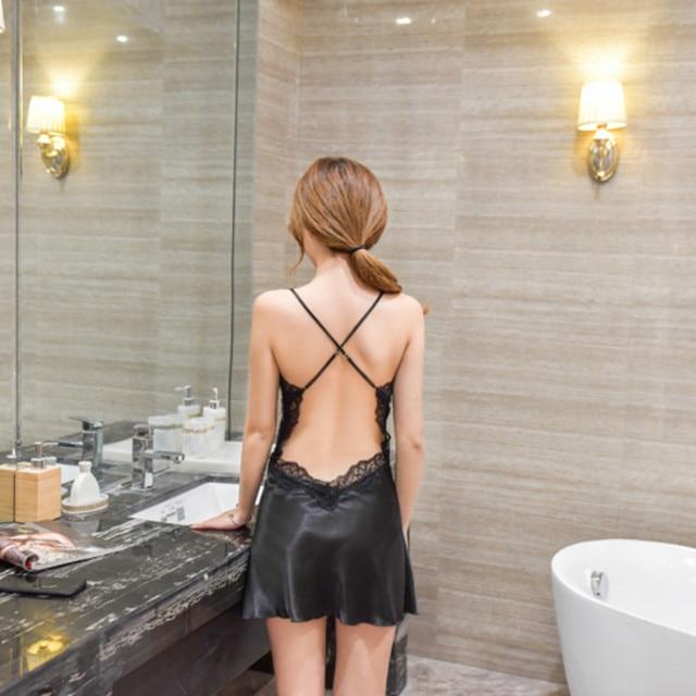 Womens Nightgown Sexy Nightwear Erotic Lingerie Sleep Wear Night Dress Satin Sleeping Dress Home Nightwear Silk Nightie 2020