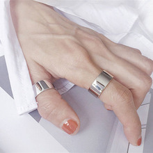 Fashion Punk Thumb Glossy Rings for Men Women Big Faced Wide Opening Finger Rings For