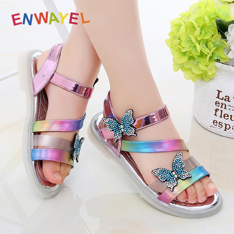 ENWAYEL Fashion Rhinestone Children Sandals For Girls Kids Shoes 2021 Summer Sandal Slippers Child Sandles Sandalias Chaussure