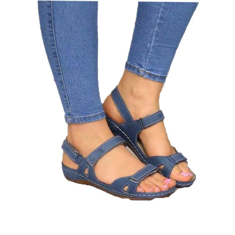 2020 Vrouwen Sandalen Platte Open Teen Schoenen Vrouwen Casual Platform Dames Vintage Office Party Sandalen Dropshipping Zapatos De Mujer